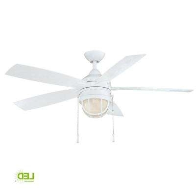 2017 Outdoor Ceiling Fans With Schoolhouse Light Pertaining To White – Outdoor – Ceiling Fans – Lighting – The Home Depot (View 8 of 15)