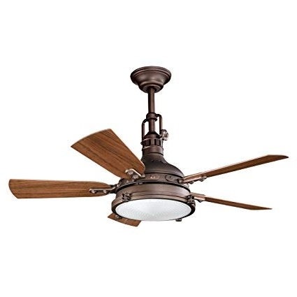 44 Inch Outdoor Ceiling Fans With Lights For Favorite Kichler 310101Wcp Patio 44 Inch Hatteras Bay Patio Fan, Weathered (Gallery 15 of 15)