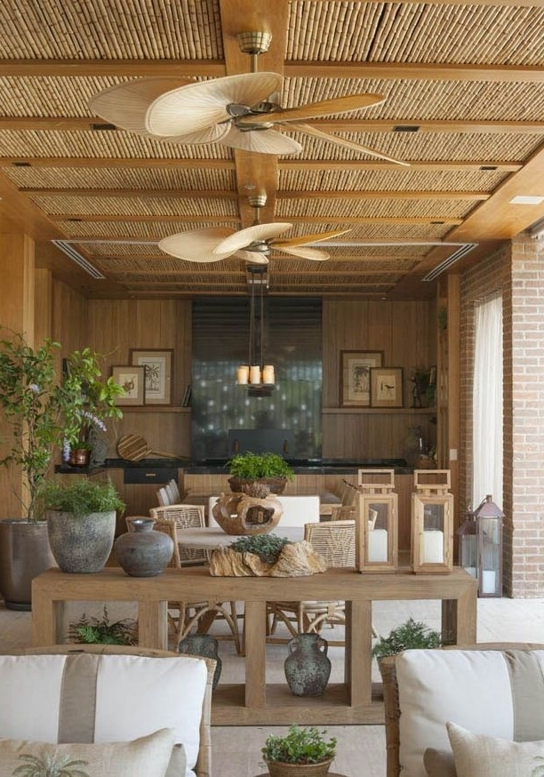 Bamboo Outdoor Ceiling Fans Throughout Trendy Summer Style!! Elegant Outdoor Terrace Veranda Deck With Outdoor (View 10 of 15)