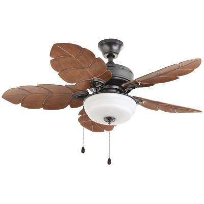 Brown Outdoor Ceiling Fan With Light Within Recent Flush Mount – Brown – Outdoor – Ceiling Fans – Lighting – The Home Depot (View 8 of 15)