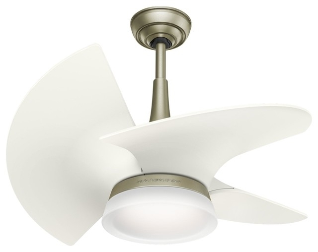 "Casablanca 30"" Orchid Outdoor, Led White Ceiling Fan, Light & Wall For Favorite Casablanca Outdoor Ceiling Fans With Lights (View 6 of 15)"