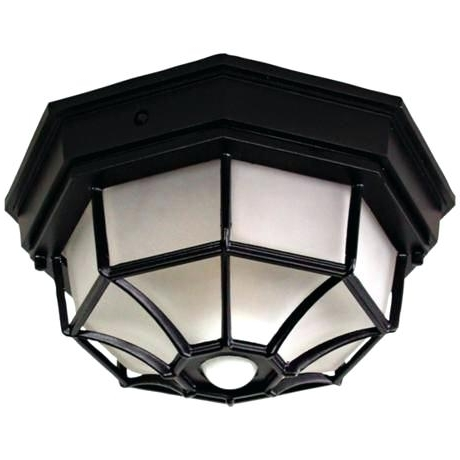 Ceiling Lights Outdoor Octagonal Wide Black Motion Sensor Outdoor Intended For Best And Newest Outdoor Ceiling Fans With Motion Light (View 12 of 15)