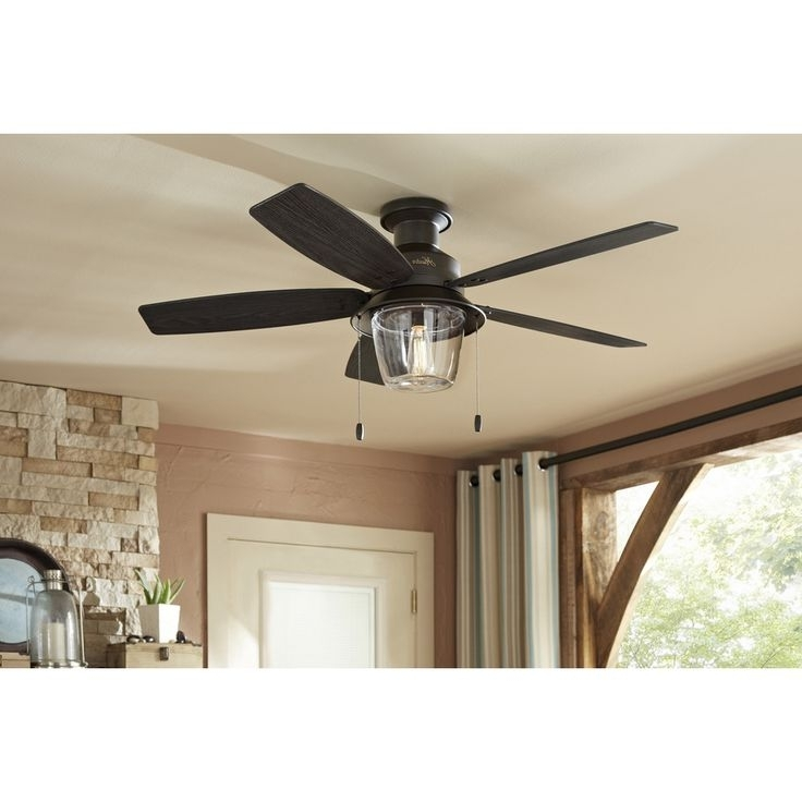 Ceiling: Outstanding Low Profile Outdoor Ceiling Fans Outdoor Flush Intended For Latest Hunter Outdoor Ceiling Fans With Lights And Remote (View 15 of 15)