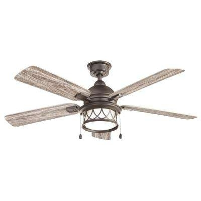 Coastal Outdoor Ceiling Fans With Regard To Well Liked Gray – Coastal – Outdoor – Ceiling Fans – Lighting – The Home Depot (View 3 of 15)