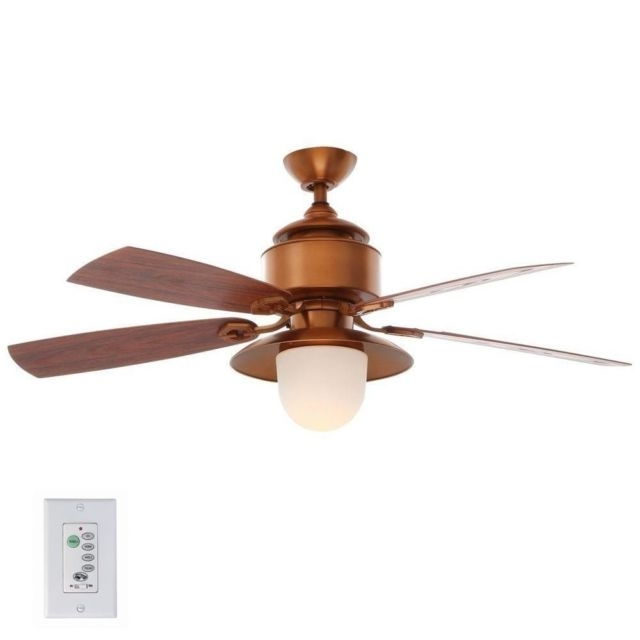 Copper Outdoor Ceiling Fans Within Most Current Hampton Bay Copperhead 52 Inch Indoor Outdoor Ceiling Fan With Light (View 6 of 15)