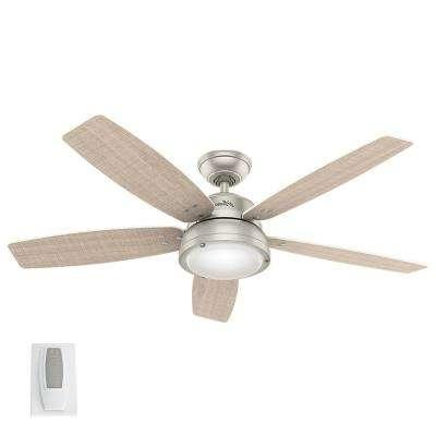 Current Nickel Outdoor Ceiling Fans Regarding Hunter – Nickel – Outdoor – Ceiling Fans – Lighting – The Home Depot (View 2 of 15)