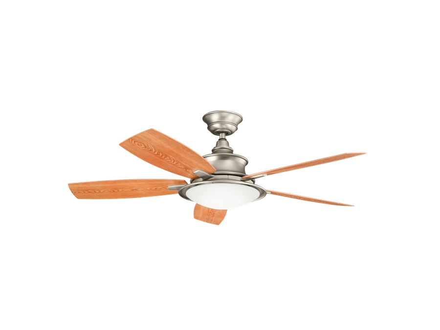 Current Outdoor Ceiling Fans At Kichler Regarding Kichler 52 Inch Cameron Outdoor Ceiling Fan – Brushed Nickel (View 3 of 22)