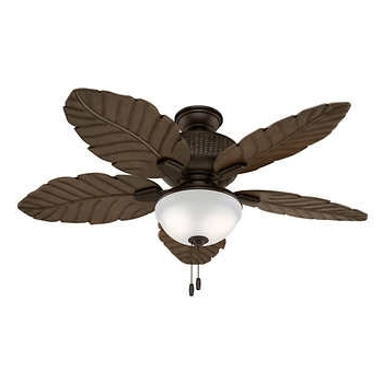 Current Outdoor Ceiling Fans With Palm Blades Regarding Hunter Sable Ridge Ii Led Outdoor Ceiling Fan With Palm Leaf Blades (View 5 of 15)