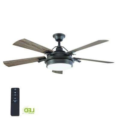Famous Black – Outdoor – Ceiling Fans – Lighting – The Home Depot In Black Outdoor Ceiling Fans With Light (View 9 of 15)