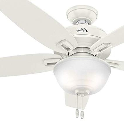 "Famous Hunter Outdoor Ceiling Fans With White Lights For Hunter 48"" Outdoor Ceiling Fan In Fresh White With Bowl Light Kit (View 2 of 15)"