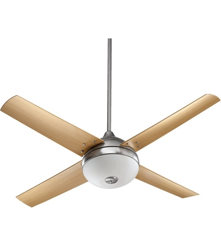 Famous Nickel Outdoor Ceiling Fans Intended For Quorum 18524 65 Orbit 52 Inch Satin Nickel With Maple Blades Outdoor (View 3 of 15)