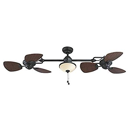 Famous Outdoor Ceiling Fans With Downrod Pertaining To Harbor Breeze Twin Breeze Ii 74 In Oil Rubbed Bronze Outdoor Downrod (View 3 of 15)