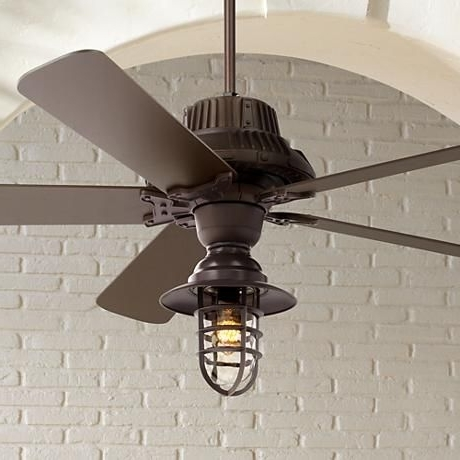 "Fashionable 60"" Industrial Forge™ Marlowe Cage Outdoor Ceiling Fan (View 4 of 15)"
