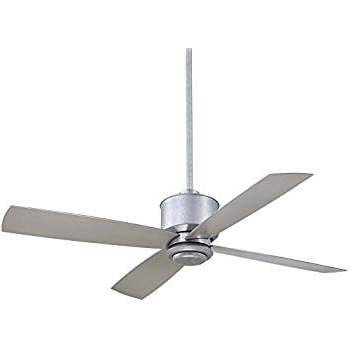 """Galvanized Outdoor Ceiling Fans With Light Within 2017 Minka Aire F734 Gl Strata – 52"""" Outdoor Ceiling Fan With Light Kit (Gallery 2 of 15)"""