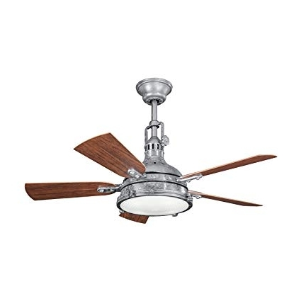 Galvanized Steel 44in. Outdoor Ceiling Fan With 5 Blades And Fresnel Within Current Outdoor Ceiling Fans With Galvanized Blades (Gallery 1 of 15)