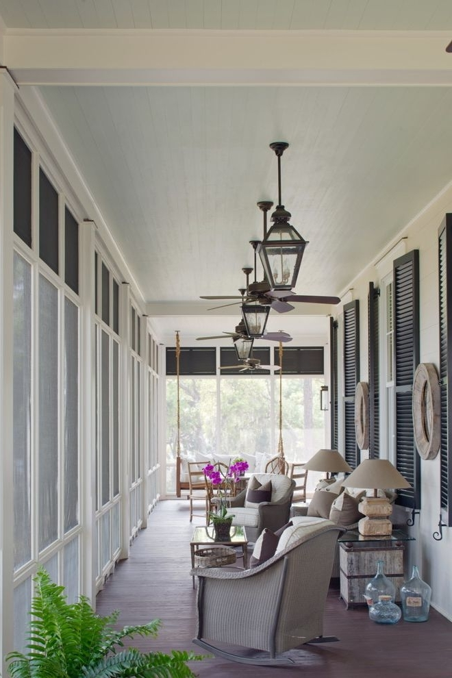 Gas Porch Light With Traditional Porch And Blue Ceiling Ceiling Fans In Well Known Outdoor Ceiling Fans With Lantern (View 8 of 15)