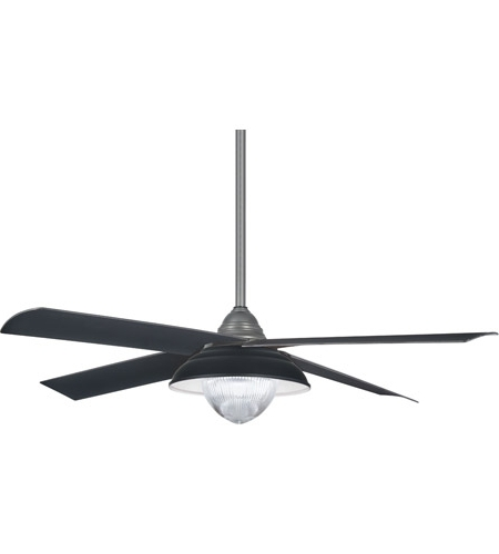 Grey Outdoor Ceiling Fans Intended For Famous Minka Aire F683L Gi Shade 56 Inch Grey Iron With Matte Black Blades (View 6 of 15)