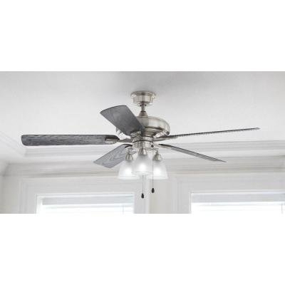 Home Decorators Collection Trentino Ii 60 In. Brushed Nickel Indoor Pertaining To Well Liked Nickel Outdoor Ceiling Fans (Gallery 14 of 15)