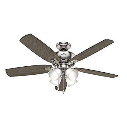 Hunter Amberlin Led 52 In Brushed Nickel Indoor Downrod Or Close Throughout Widely Used Hunter Indoor Outdoor Ceiling Fans With Lights (View 5 of 15)