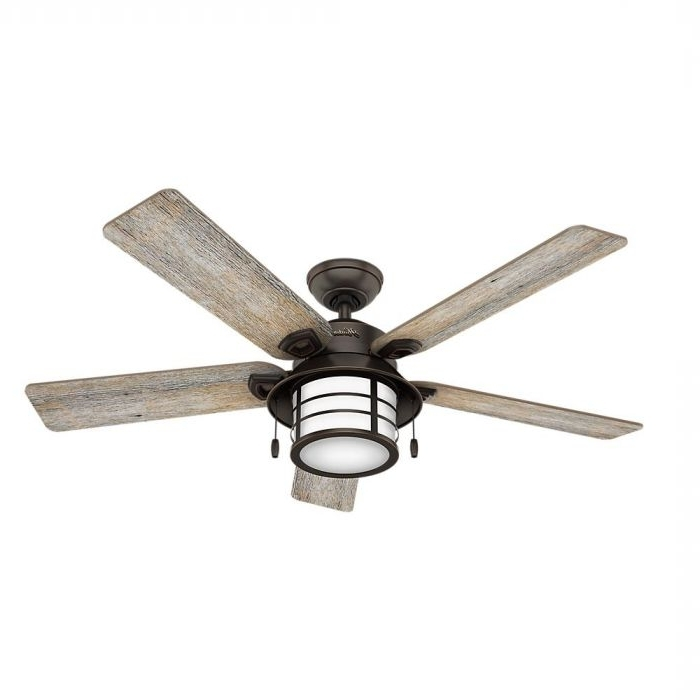 """Hunter Key Biscayne 54"""" Outdoor Ceiling Fan In Onyx Bengal – Outdoor With Regard To Most Popular Outdoor Ceiling Fans With Led Globe (Gallery 10 of 15)"""