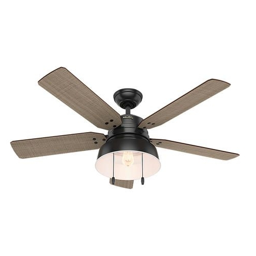 "Hunter® Mill Valley 52"" Led Outdoor Matte Black Ceiling Fan At In Well Known Outdoor Ceiling Fans At Menards (View 9 of 15)"