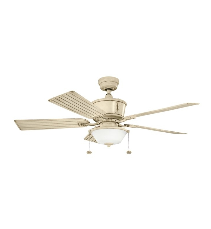 "Kichler 300162Aw Cates 52"" Outdoor Ceiling Fan With 5 Blades And Downrod For Trendy Outdoor Ceiling Fans With Long Downrod (View 6 of 15)"