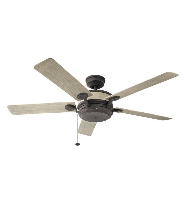 "Kichler 310085Aub Uma 5 Blades 60"" Indoor/outdoor Ceiling Fan With Pertaining To Famous Outdoor Ceiling Fans With Pull Chains (Gallery 12 of 15)"