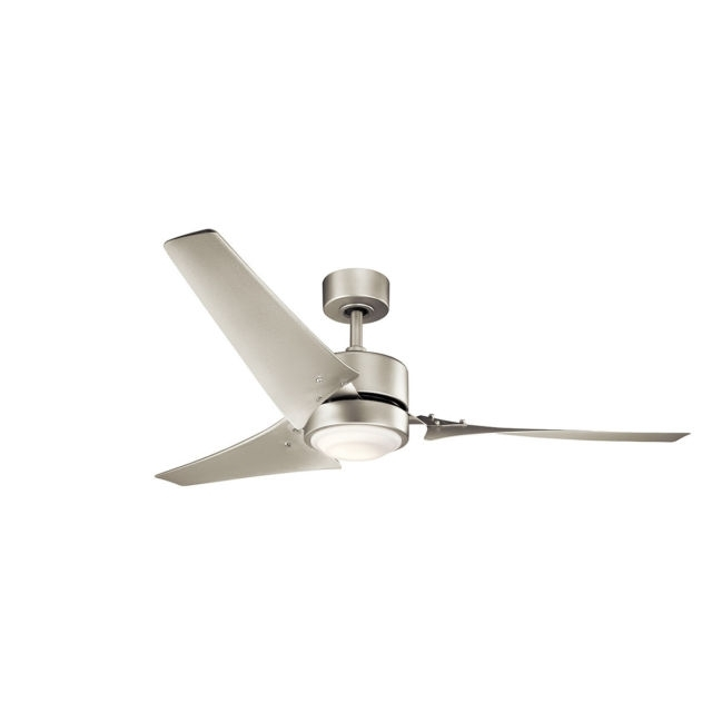 "Kichler 310155ni Rana 60"" Outdoor Ceiling Fan With Light In Brushed With Regard To Well Known Nickel Outdoor Ceiling Fans (View 15 of 15)"