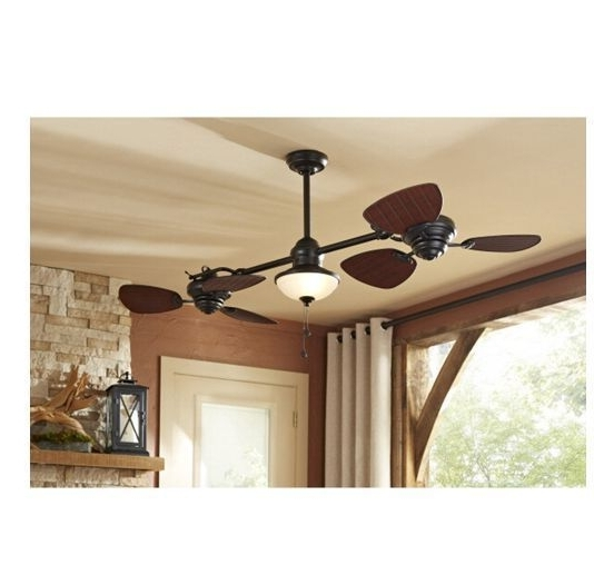 "Latest 74"" Indoor Outdoor Ceiling Fan Dual Fan Heads & Light Kit Twin For Exterior Ceiling Fans With Lights (View 10 of 15)"