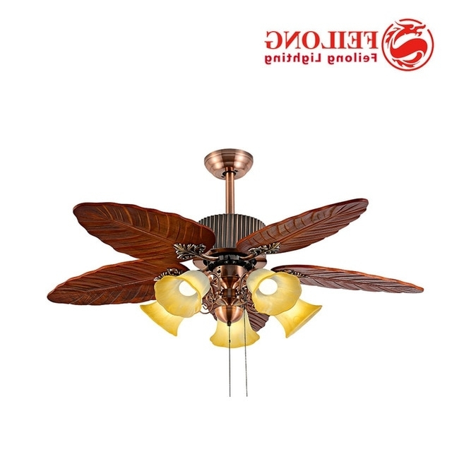 Leaf Blades Outdoor Ceiling Fans Throughout Fashionable Ceiling Fan Huge Leaf Blades With Five Light Kits Pull Chain Control (View 8 of 15)
