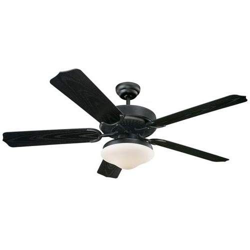 Monte Carlo Weatherford Deluxe Matte Black 52 Inch Outdoor Ceiling In Most Current Black Outdoor Ceiling Fans (View 10 of 15)