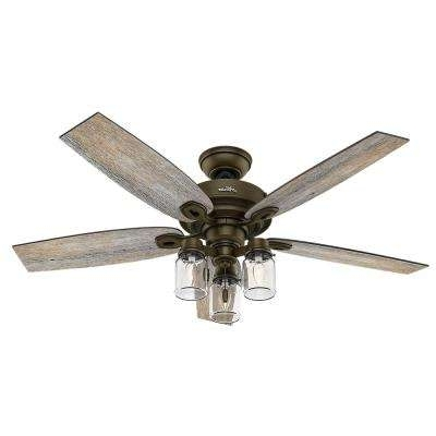 Most Current Hunter Indoor Outdoor Ceiling Fans With Lights In Hunter – Ceiling Fans With Lights – Ceiling Fans – The Home Depot (View 14 of 15)