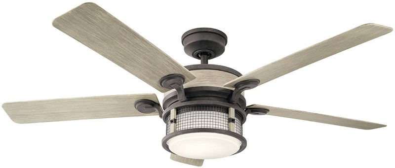 Most Current Outdoor Ceiling Fans At Kichler Within Kichler 310170wzc Ahrendale 60 Inch Weathered Zinc Ceiling Fan With (View 7 of 22)
