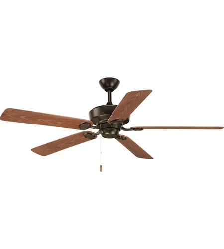 Most Popular 20 Inch Outdoor Ceiling Fans With Light Inside Progress P2562 20 Lakehurst 60 Inch Antique Bronze With Walnut (View 7 of 15)