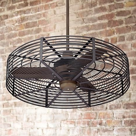 "Most Popular Outdoor Ceiling Fans With Cage In 32"" Vintage Breeze™ Bronze – Black Cage Ceiling Fan (View 3 of 15)"