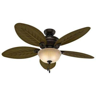 Most Popular Outdoor Ceiling Fans With Light Kit Intended For Hunter – Outdoor – Ceiling Fans – Lighting – The Home Depot (View 7 of 15)