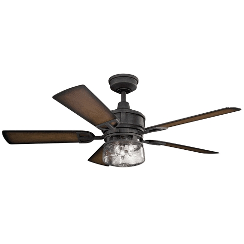 """Most Recent Kichler 310139Dbk Lyndon Patio 52"""" Outdoor Ceiling Fan With Light In With Outdoor Ceiling Fans At Kichler (View 6 of 22)"""