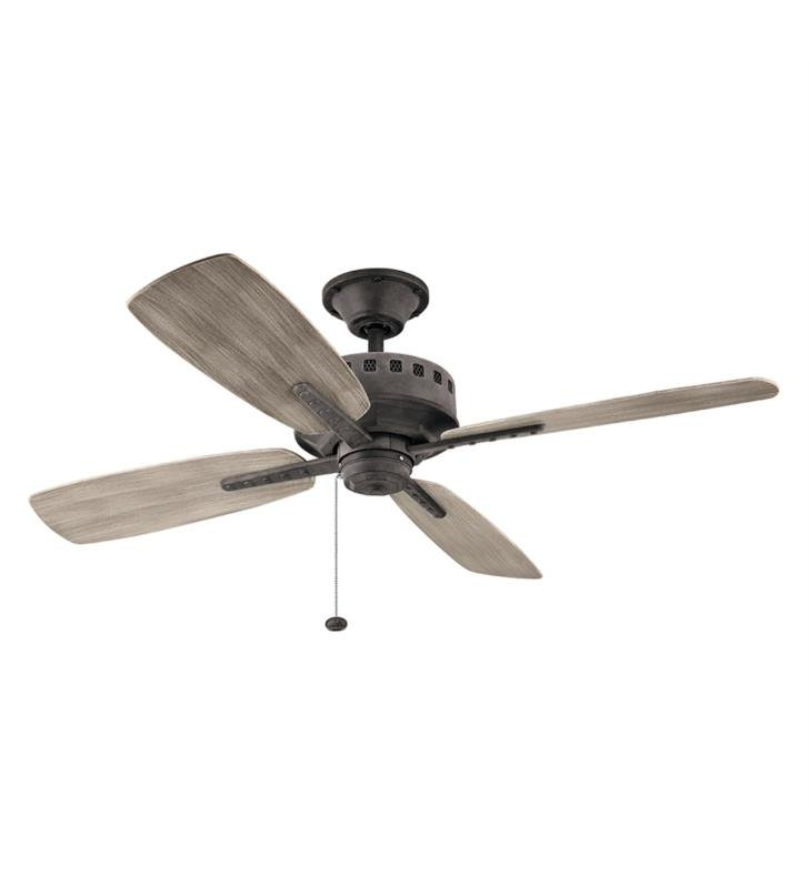 "Most Recent Outdoor Ceiling Fans With Pull Chain With Kichler 310152 Eads 4 Blades 52"" Indoor/outdoor Ceiling Fan With (View 9 of 15)"