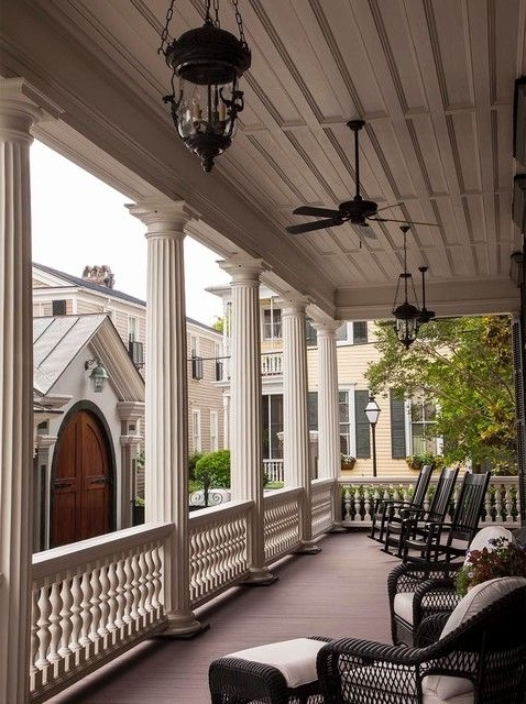 Most Recently Released Porch Pillars Porch Victorian With Black Wicker Furniture Ceiling Pertaining To Victorian Outdoor Ceiling Fans (View 4 of 15)