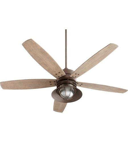 Most Up To Date 60 Inch Outdoor Ceiling Fans With Lights Within Quorum 14605 86 Portico 60 Inch Oiled Bronze With Weathered Oak (View 2 of 15)