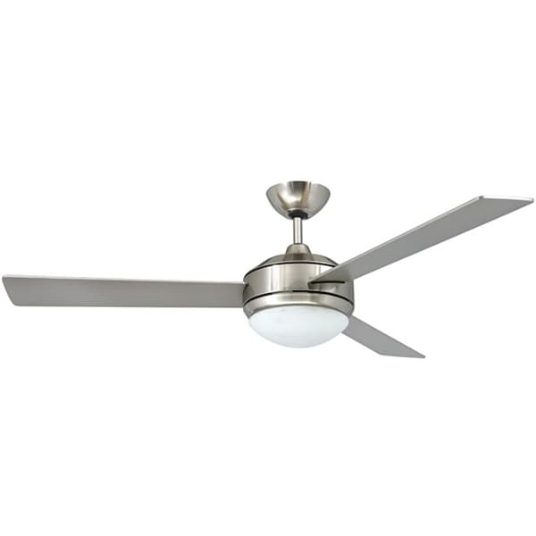 Most Up To Date Brushed Nickel Outdoor Ceiling Fans With Light Regarding Shop Contemporary 52 Inch Brushed Nickel 2 Light Ceiling Fan – On (View 13 of 15)