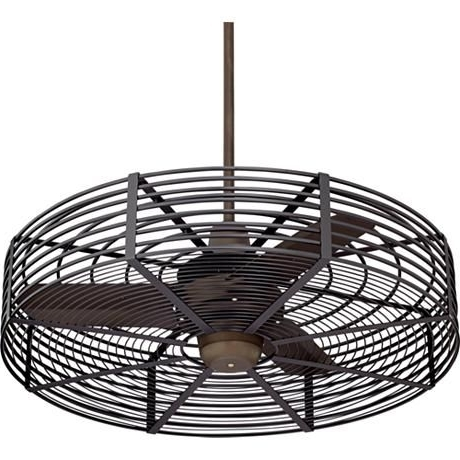 "Outdoor Caged Ceiling Fans With Light With Most Recently Released 32"" Vintage Breeze™ Bronze – Black Cage Ceiling Fan (View 8 of 15)"