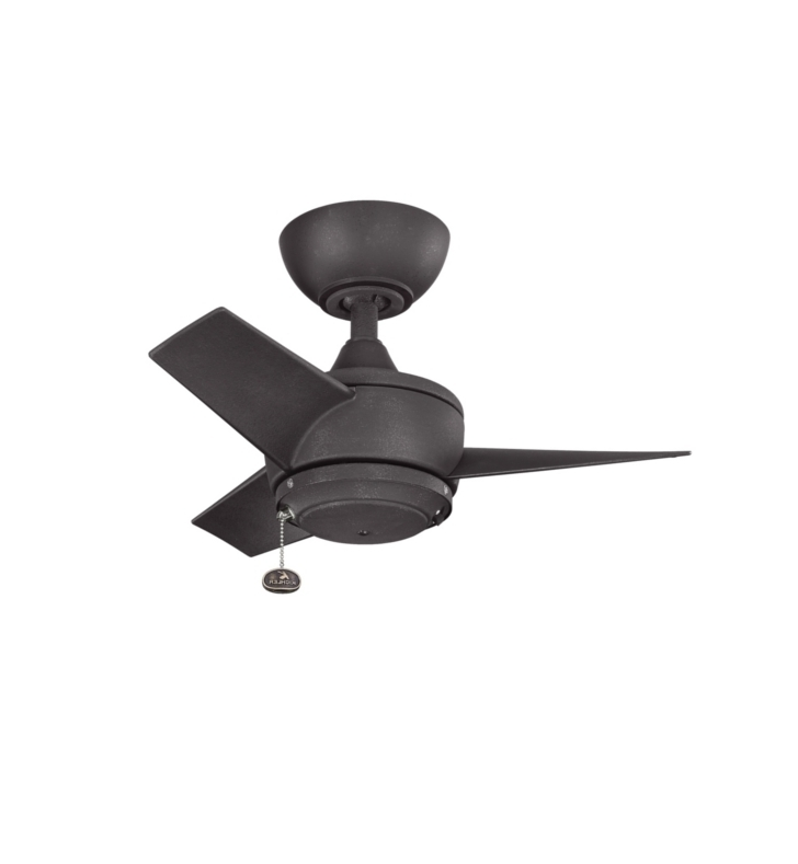 "Outdoor Ceiling Fans At Kichler Within 2017 Kichler 310124dbk Yur 24"" Outdoor Ceiling Fan With 3 Blades And Downrod (View 16 of 22)"