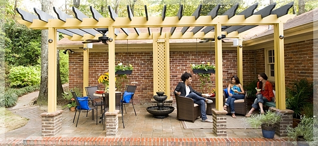 Outdoor Ceiling Fans For Pergola Regarding 2018 Outdoor Living : Made In The Shade: Pergola Outdoor Room (View 2 of 15)