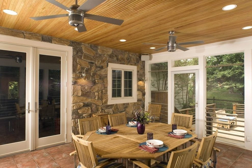Outdoor Ceiling Fans For Screened Porches With Well Known Rustic Outdoor Ceiling Fans Traditional Porch Also Accent Ceiling (View 12 of 15)