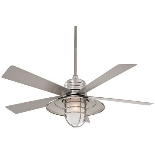 Outdoor Ceiling Fans For Wet Locations Pertaining To Fashionable Minka Aire Rainman Brushed Nickel 54 Inch Blade Indoor/outdoor (Gallery 7 of 15)