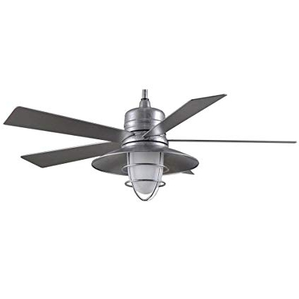 Outdoor Ceiling Fans Under $50 In Most Recent Amazon: Grayton 54 In. Indoor/outdoor Galvanized Ceiling Fan (Gallery 10 of 15)