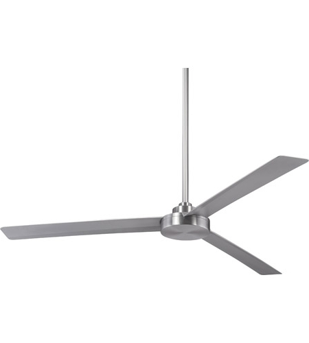 Outdoor Ceiling Fans With Aluminum Blades Throughout Well Known Roto 62 Inch Brushed Aluminum With Silver Blades Outdoor Ceiling Fan (Gallery 1 of 15)