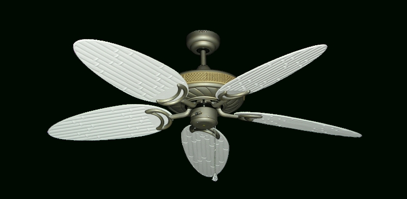 "Outdoor Ceiling Fans With Bamboo Blades Regarding Most Up To Date Atlantis Ceiling Fan In Antique Bronze With 52"" Outdoor Bamboo Pure (Gallery 14 of 15)"