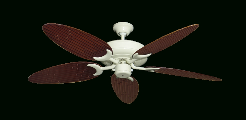 """Outdoor Ceiling Fans With Bamboo Blades With Regard To 2018 Raindance Ceiling Fan In Antique White With 52"""" Outdoor Bamboo Wine (View 8 of 15)"""
